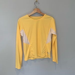 Yellow Ribbed Champion Running Long Sleeve Tee